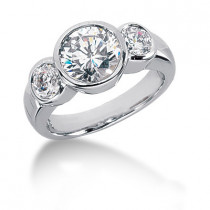Platinum Round Diamond Ladies Ring 2.70ct