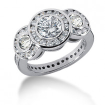 Thin Platinum Round Diamond Ladies Ring 2.74ct