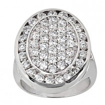 Platinum Round Diamond Ladies Ring 3.08ct