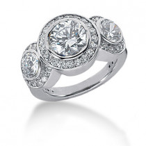 Thin Platinum Round Diamond Ladies Ring 3.24ct