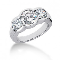Platinum Round Diamond Ladies Ring 3ct