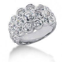 Platinum Round Diamond Ladies Ring 4.10ct