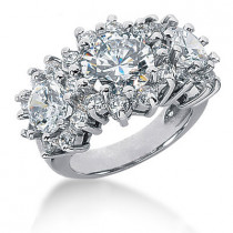 Platinum Round Diamond Ladies Ring 6.30ct