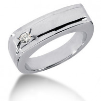 Platinum Round Diamond Men's Wedding Band 0.10ct