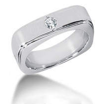 Platinum Round Diamond Men's Wedding Band 0.15ct