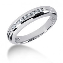 Platinum Round Diamond Men's Wedding Band 0.23ct