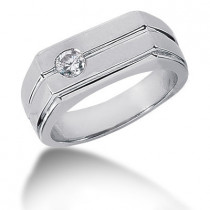 Platinum Round Diamond Men's Wedding Band 0.25ct