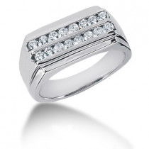 Platinum Round Diamond Men's Wedding Band 0.48ct