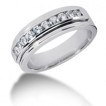 Platinum Round Diamond Men's Wedding Band 0.60ct