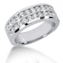 Platinum Round Diamond Men's Wedding Band 1.32ct