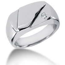 Platinum Round Diamond Men's Wedding Ring 0.07ct