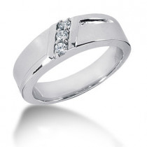 Platinum Round Diamond Men's Wedding Ring 0.15ct