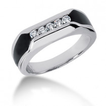 Platinum Round Diamond Men's Wedding Ring 0.25ct