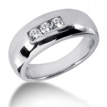 Platinum Round Diamond Men's Wedding Ring 0.30ct