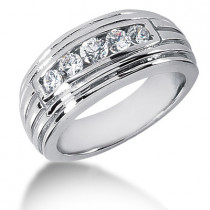 Platinum Round Diamond Men's Wedding Ring 0.36ct