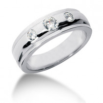 Platinum Round Diamond Men's Wedding Ring 0.45ct