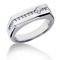 Platinum Round Diamond Men's Wedding Ring 0.50ct
