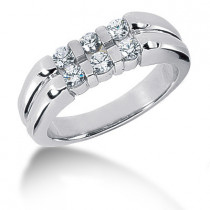 Platinum Round Diamond Men's Wedding Ring 0.60ct
