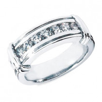 Platinum Round Diamond Men's Wedding Ring 0.70ct