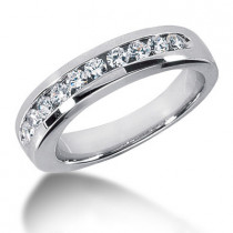 Platinum Round Diamond Men's Wedding Ring 0.80ct