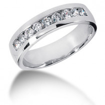 Platinum Round Diamond Men's Wedding Ring 0.81ct