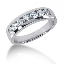 Platinum Round Diamond Men's Wedding Ring 0.84ct