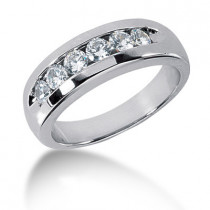 Platinum Round Diamond Men's Wedding Ring 0.90ct