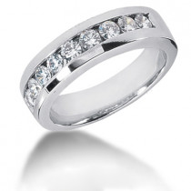 Platinum Round Diamond Men's Wedding Ring 1.08ct
