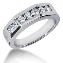 Platinum Round Diamond Men's Wedding Ring 1.19ct
