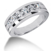 Platinum Round Diamond Men's Wedding Ring 1.50ct
