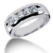 Platinum Round Diamond Men's Wedding Ring 1ct