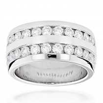 Platinum Round Diamond Men's Wedding Ring 2.08ct