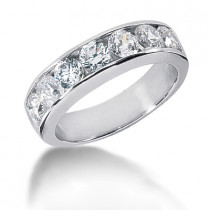 Platinum Round Diamond Men's Wedding Ring 2.10ct