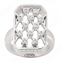 Platinum Round Diamond Right Hand Ladies Ring 0.18ct