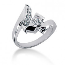 Platinum Round Diamond Right Hand Ladies Ring 0.34ct