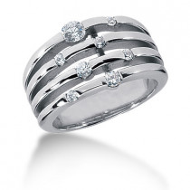 Platinum Round Diamond Right Hand Ladies Ring 0.38ct