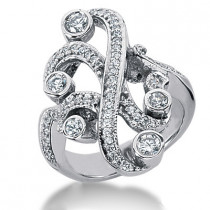 Platinum Round Diamond Right Hand Ladies Ring 0.71ct