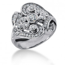 Platinum Round Diamond Right Hand Ladies Ring 0.78ct