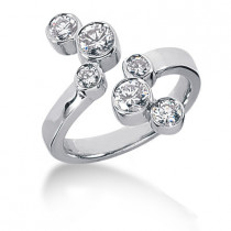 Platinum Round Diamond Right Hand Ladies Ring 0.86ct