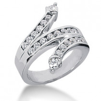 Platinum Round Diamond Right Hand Ladies Ring 0.90ct