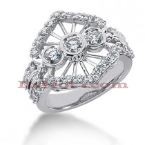 Platinum Round Diamond Right Hand Ladies Ring 1.45ct