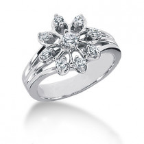 Platinum Round Diamond Right Hand Womens Ring 0.34ct