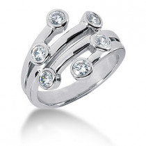 Platinum Round Diamond Right Hand Womens Ring 0.60ct
