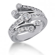 Platinum Round Diamond Right Hand Womens Ring 0.95ct