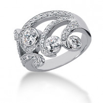 Platinum Round Diamond Right Hand Womens Ring 1.17ct