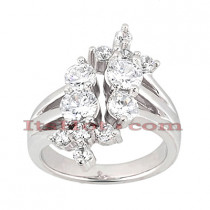 Platinum Round Diamond Right Hand Womens Ring 2ct