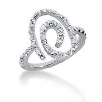 Platinum Swirl Diamond Ladies Ring 0.45ct