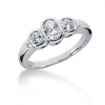 Thin Platinum Women's Diamond Ring 0.80ct