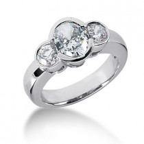 Thin Platinum Women's Diamond Ring 1.50ct