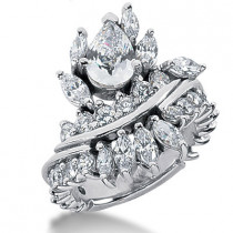 Platinum Women's Diamond Ring 3.87ct